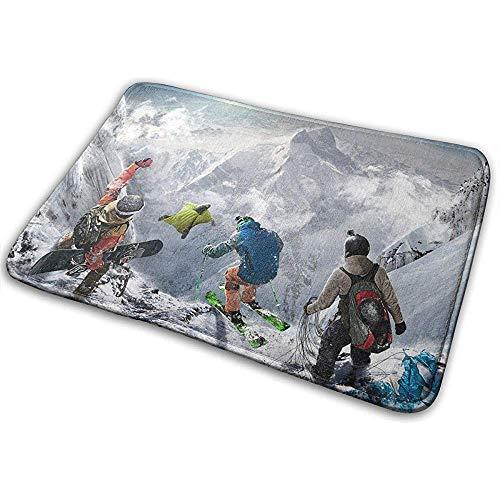 AllenPrint Fußabtreter,Skifahren Fliegen Snowboarden Gleitschirmfliegen Weiche Qualität Fußmatten Badematte Für Ourdoor Indoor Camping 60Cmx40Cm