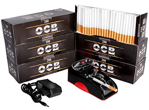 JeVx Maquina Liadora de Tabaco + 1200 Tubos con Filtro OCB -...