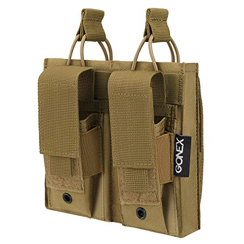 Gonex Double Kangaroo Mag Magazine Pouch, Tactical Molle Pouch Open Top for...