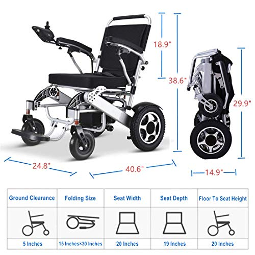 51vympFXDyL. SL500  - MUJO Silla de ruedas eléctrica Plegable Ligera Deluxe Plegable Potencia de movilidad compacta Silla de ruedas Peso