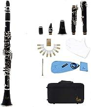 ammoon LADE Clarinete ABS 17 Bb Plana Soprano Binocular Clarinete con Cork Grease Trapo de Limpieza Guantes 10 Cañas Destornillador Reed Caja del Instrumento de Viento de Madera