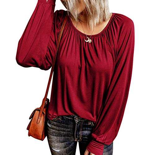 Esobo Women Long Sleeve Shirt Blouse Top Casual Cotton Blended Button Boho Fall Spring Outwear (Red,X-Large)