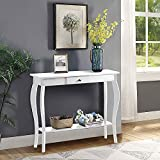 ChooChoo Sofa Table, Console Table, Narrow Entryway Table with 1 Drawer and Storage Shelf, for Entryway Hallway Living Room, Easy Assembly (40', White)