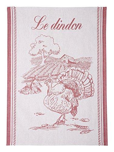 Coucke TNO-220-7089201-000-CKE Torchon Jacquard Le DINDON, Coton, Rouge, 50 x 75 cm