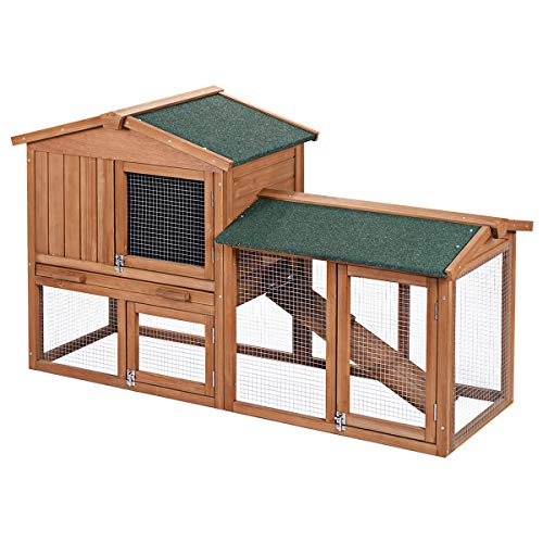 Tangkula Chicken Coop, Wooden Large Outdoor Poultry Cage (Such as Bunny/Rabbit/Hen) with Ventilation...