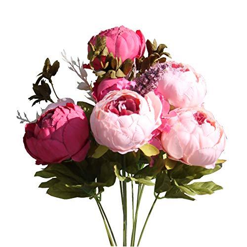 Mandy's Kunstseide, Pfingstrosen, Blumenstrauß für Zuhause, Hochzeitsdekoration