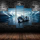 45Tdfc 5 Paneles Arte GráFica Pintura Pared Coche de Campeonato Fia Formula E Racing ImáGenes para DecoracióN Moderna Hogar Mural Salon Dormitorio 150 * 80Cm Marco
