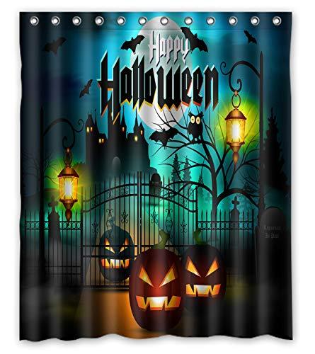 GCKG Happy Halloween Kürbis Laterne Burg Fledermaus Mond Wasserdichter Duschvorhang 152,4 x 182,9 cm