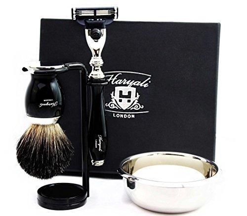 Haryali London Rasiermesser mit 3 Rasierkanten, Rasierpinsel für schwarzen Dachs, Rasierschale, Rasierseife und Rasierständer für Herren