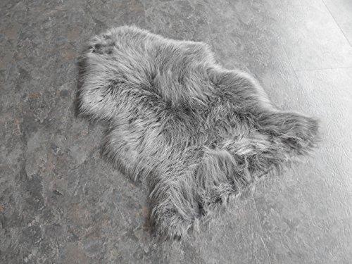 MB Warenhandel24 Schaffell Lammfell Fell Teppich Imitat Kunstfell Auflage Bettvorleger Schaf Lamm ca. 70x100 cm (Grau NEU)