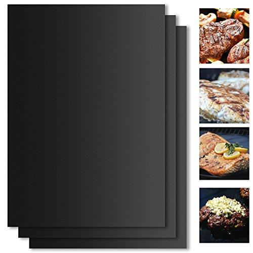 Set de 3 Tapis de Cuisson pour Barbecue et Four VEAMA BBQ Tapis de 40cm*33cm*0.3mm très épais pour les barbecue à électriques, gaz ou charbon - facile à nettoyer 100% Anti-adhérent