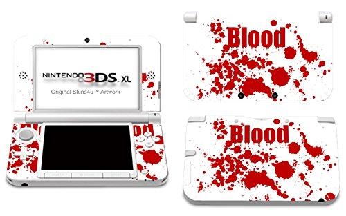 Skins4u Aufkleber Skin Folie Design Schutzfolie kompatibel mit Nintendo 3DS XL Blood Crime White