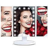 Glynee Miroir de Maquillage Triple Miroir Grossissant avec 22pcs LED Écran Tactile Gradation 1x 2X 3X 10x Batterie et Charge USB Rotation à 180 ° Portable (Blanc)