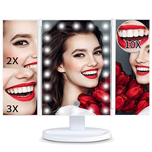 Schminkspiegel, Glynee 3 Seiten Kosmetikspiegel Tischspiegel mit 22 LED Beleuchtung Faltbar Dimmbar 180 Grad Einstellbar Drehung 1X 2X 3X 10X Licht Vergrößerung (Weiß)