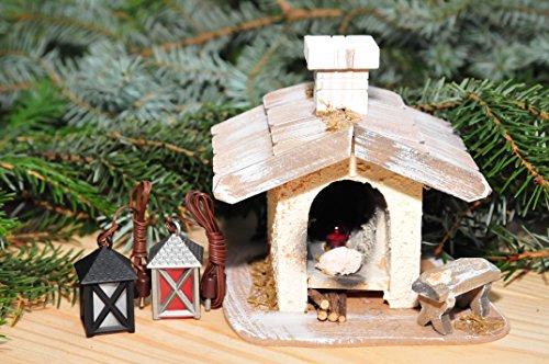 Krippenbeleuchtung Krippendeko - Backofen, Brotbackofen, Backhaus Holzbackofen mit LED + LED + 2 x Krippenlaterne, ÖLBAUM Original-Krippenbeleuchtung für Weihnachtskrippe, historische Ausführung, b