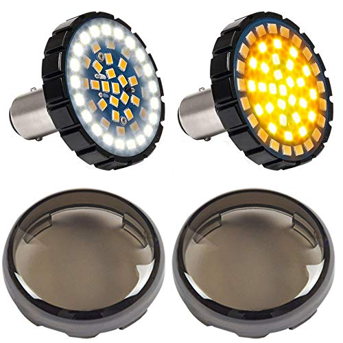 DTR2017 1157 Front LED Turn Signal Lights, 2 Inch Bullet Running Light with Smoked Lens Cover fits Harley Sporster 1200, Dyna, Road King, Street Glide, Softail 2020