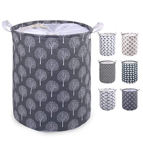 WANDF ランドリーバスケット 洗濯かご 折り畳み 手提げ付き 巾着 撥水加工 綿麻製 (A-黒林)