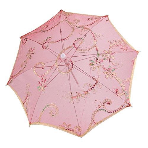sourcingmap Dancing Bord Motif Floral Rouge Mini Parasol Dentelle Parapluie Argenté Doré Blanc