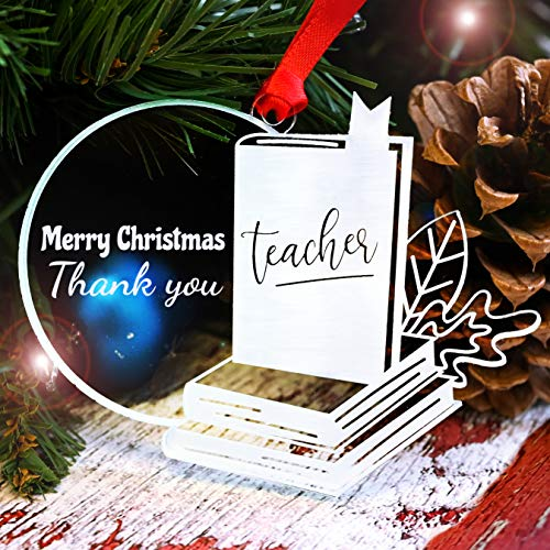 LHS Engraving Best Teacher Cute Book Ornament 2020 Crystal Clear Frosted White Tree Decoration Acrylic | Unique Keepsake Non Personalized | Made in USA