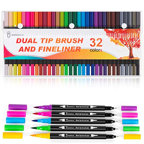 Warmsun 32 Colors Dual Brush Pens Art Markers, Dual Tips Coloring Brush Fineliner Color Marker Water Based Pen Set for Kid Adult Drawing Coloring Book Note (32 Colors)