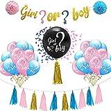 Decoración de revelación de género, 29 unidades, globos de fiesta de revelación de género para bebés, globos de color rosa y azul con adornos para banner de papel, borla de flores, confeti, unisex