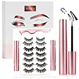 Magnetic Eyelashes with Eyeliner Kit, 7 Pairs Reusable Magnetic Lashes with 2 Tubes Magnetic Eyeliners and Tweezers, 3D 5D Magnetic Lashes for Women, Natural Look, No Glue Needed