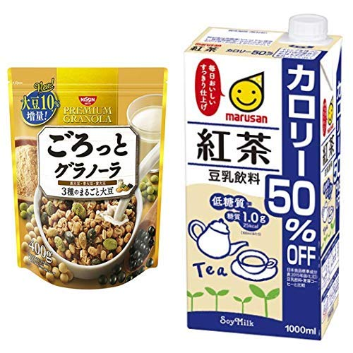 【セット買い】ごろっとグラノーラ3種のまるごと大豆400g 400gX6袋 + マルサン 豆乳飲料バナナ カロリー50%オフ 1L×6本
