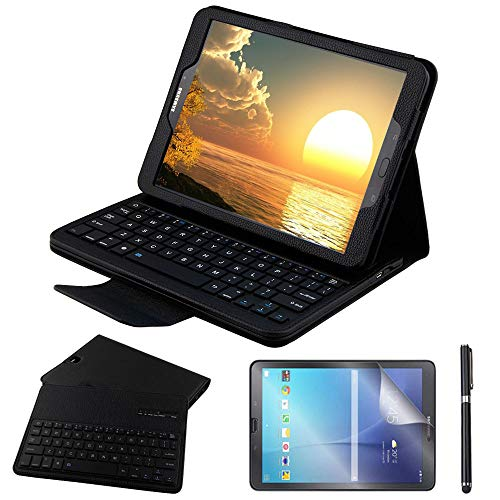 Galaxy Tab S2 9.7 Keyboard Case with Screen Protector & Stylus, REAL-EAGLE PU Leather Case with Detachable Wireless Bluetooth Keyboard for Samsung Tab S2 9.7 SM-T810 T813 T815 T819 Tablet, Black