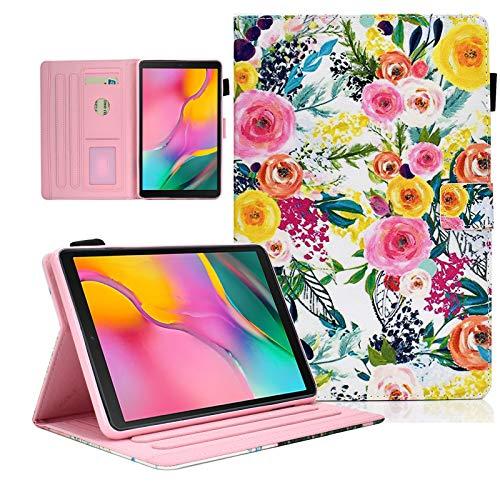 KEROM - Funda para Samsung Tab A 10.1 2019 (SM-T510/T515), piel sintética con soporte para Samsung Galaxy Tab A T510/T515, diseño de flores