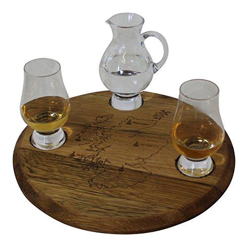 Reza Eiche Holz schottischen Whisky Lauf Tasting Set mit Krug Glencairn Glas und Wasser
