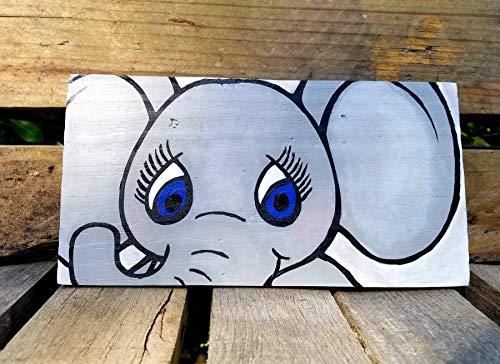 Yor242len Baby Elephant Elephant Nursery Nursery Wall Decor Plaque en Bois Panneau en Bois Motif éléphant