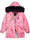 Wantdo Girls' Waterproof Ski Jacket Windproof Warm Winter Puffer Snow Coat Pink 14/16