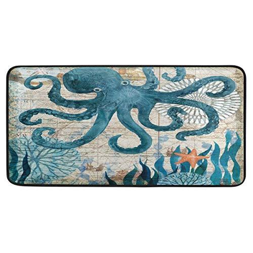 Watercolor Kraken Octopus Kitchen Rugs Starfish Sea Coral Bath Rug Runner Comfort Mat Non-Slip Doormats Carpet for Bathroom Indoor 39' X 20'