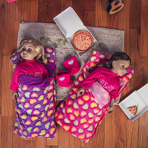 The Queens Treasures Set of Two 18 Inch Doll Sleeping Bags, Pink and Purple Super Soft Sleepover Party, Compatible with American Girl Dolls - Accessories & Furniture. Safety Tested!
