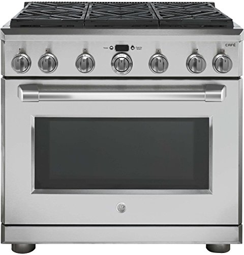 Best Prices! GE Cafe C2Y366SELSS 36 Inch Freestanding Dual Fuel Range with 6 Burners, Sealed Cooktop...