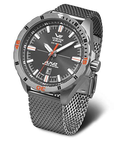 Vostok Europe Almaz 320H263-B - Reloj automático para hombre (titanio, correa milanesa)