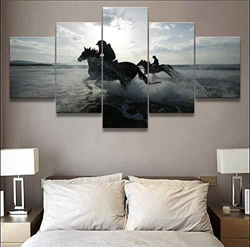 COCOCI Lienzo 5 Piezas Animal Horse Running by The Sea Lienzos Decorativos Cuadros Grandes Baratos Cuadros Decoracion Cuadros para Dormitorios Modernos Cuadros Decoracion Regalos Personalizados