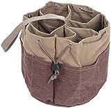 Namvo Bolsa organizadora de Herramientas Multiusos, Bolsa de Herramientas Tipo Cubo con múltiples Bolsillos y cordón Lateral, asa de Nailon (Caqui)