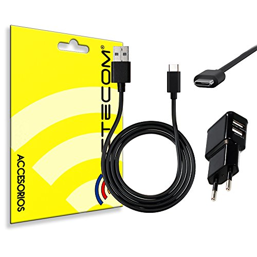 actecom® Cargador Enchufe Pared Doble Negro + Cable Tipo C CASA MOVIL Tablet