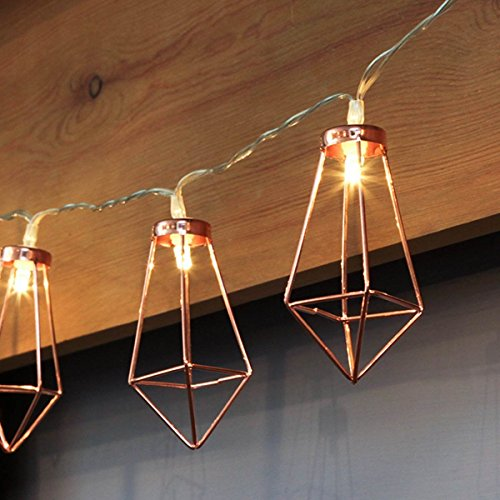 Kupfer geometrische LED Lichterkette – 4 Meter | Mit Netzstecker NICHT batterie-betrieben | 10 LEDs warm-weiß | rose gold pyramidenform - kein austauschen der Batterien | Rosegold Deko von CozyHome