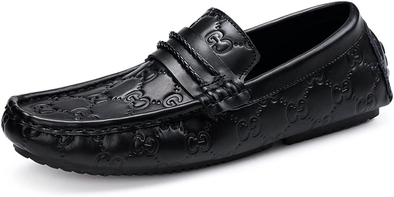 CHENDX Schuhe, Herren Herren echtes Leder Vamp Driving Penny Slipper Druck Mokassins weiche Gummisohle (Farbe   Printing, Größe   39 EU)  Neues exklusives High-End