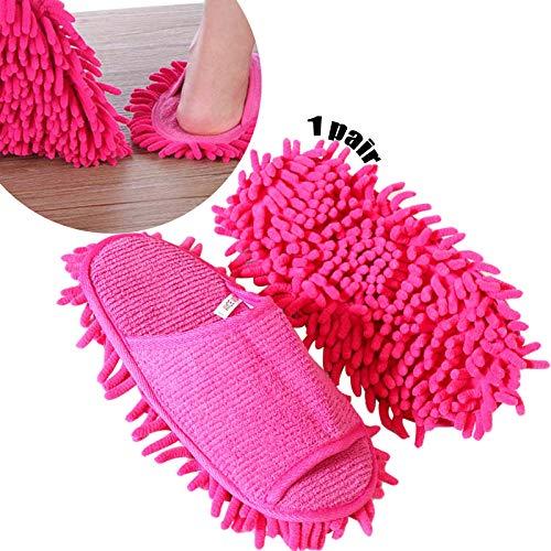 Limpiar Zapatillas 1 Par Pantuflas De Microfibra Limpieza De Cubiertas De Zapatos Para Trapeador De Polvo Pantuflas Lavables a Máquina Para Baño Oficina Cocina Limpieza De Piso Zapatillas Rosas Rojas