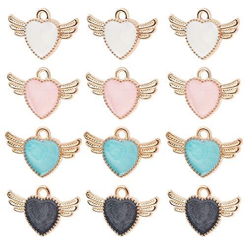 NBEADS 80 Piezas 4 Colores Colgantes de Esmalte de Alas de Corazón, Dijes de Joyería de Aleación para Hacer Manualidades, 14x22mm