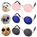 Pets Can See Colors Dogs Cats Round Retro Party Favors Sunglasses Set Cute Funny Cosplay Toys Costume Photos Props (3 Packs B)