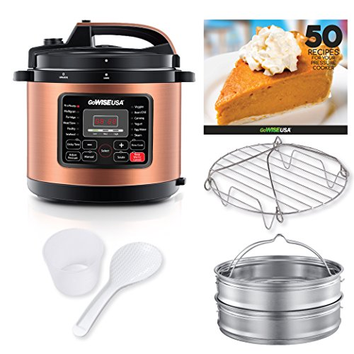 GoWISE USA 10-QT 12-in-1 Electric High-Pressure Cooker, Canner with Measuring Cup, Stainless Steel Rack and 2 Steam Baskets, and Spoon (Copper)