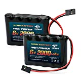 melasta RC Receiver Battery 6V 2000mAh NiMH for Futaba RC Airplane Servo Controller Radio Transmitter Batteries Pack Rechargeable(2-Pack)