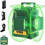 POPOMAN 3x360 ° Green Laser Level, Professional 3D Laser Cross 45m, Interior Decoration, USB Charging, Self-leveling and Pulse Mode, Bag (Incl. 5200mAh lithium battery and Magnetic Holder)