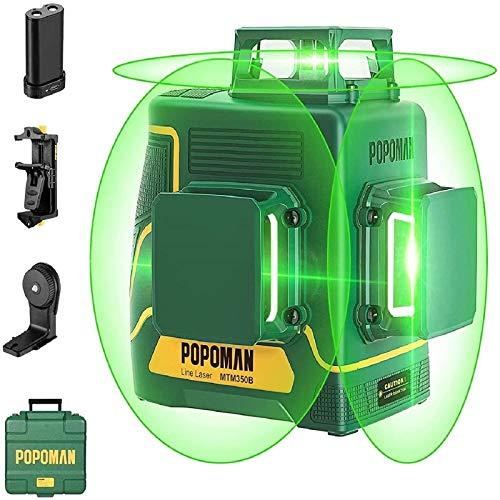 Kreuzlinienlaser Grün 45m, POPOMAN 3x360° Linienlaser, USB-Aufladung, Selbstnivellierenden und Pulsfunktion, Tragetasche (inkl. USB mit 5200mAh Lithiumbatteriepack und Magnethalter)