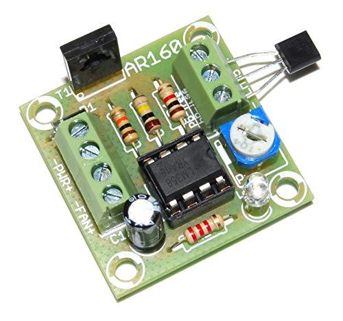 AR160M regelaar van de ventilatordraad, 12 V, 1,5 A, opgebouwde module, klaar voor functioneel getest, besturing van de snelheid, temperatuursensor LM35 instelbaar van 40 °C tot 150 °C.