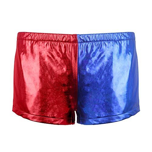Udekit Hochwertige Rote und Blaue Elastische Beute Shorts für Frauen Mädchen Harley Quinn Cosplay Kostüm X-Groß